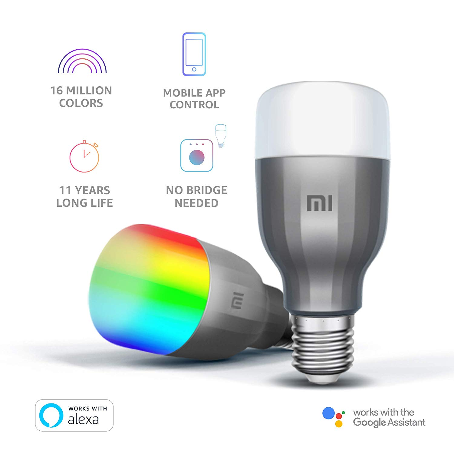 Mi LED Wi-Fi 10W Smart Bulb Compatible with Amazon Alexa and Google Assistant